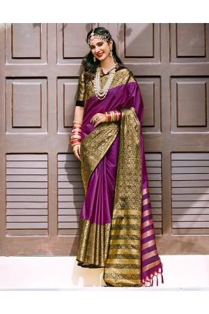Siyona Wine Magenta Wedding Wear Cotton Saree