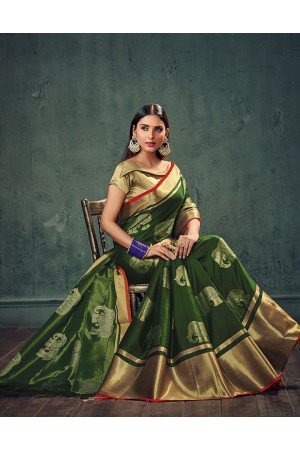 Swarna Karini Olive Green Festive Wear Cotton Saree