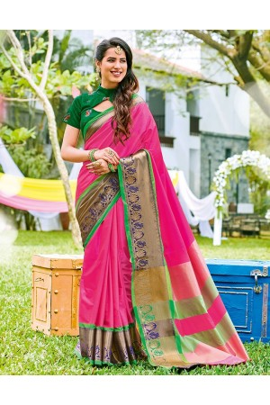 Tazeen Jazzy Pink Wedding Wear Cotton Saree