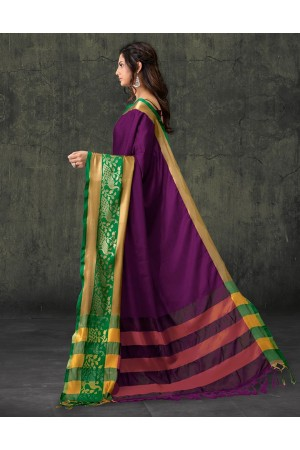 Zaarish Wine Magenta Cotton Wear Saree