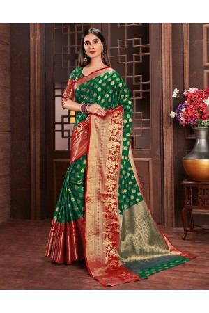 Ziana Tender Green Party Wear Cotton Saree