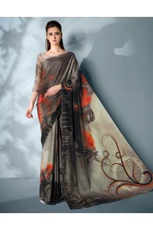 Ziva Digital Printed Ash Black Saree