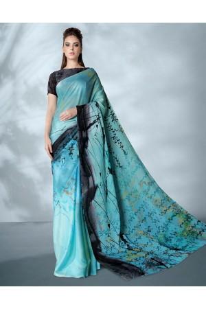 Ziva Digital Printed Azure Blue Saree