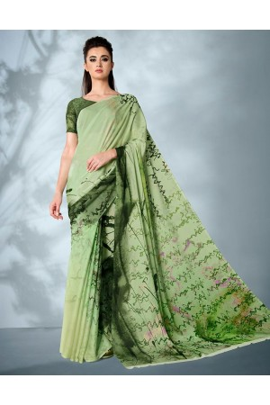 Ziva Digital Printed Lush Green Saree