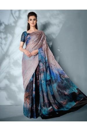 Ziva Digital Printed Peacock Blue Saree