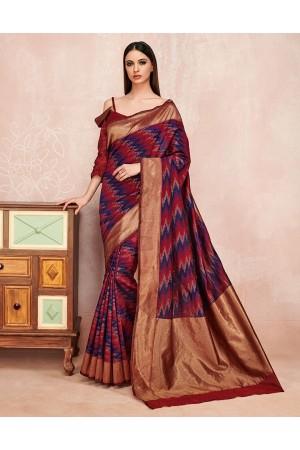 Zoya Currant Red Designer Wear Cotton Saree