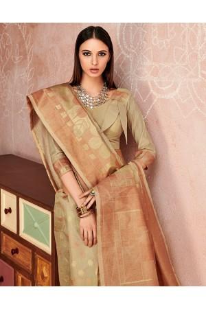 Zoya Duskin Beige Designer Wear Cotton Saree
