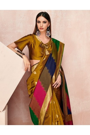 Zoya Mustard Golden Designer Wear Cotton Saree