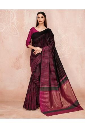Zoya Onyx Black Designer Wear Cotton Saree