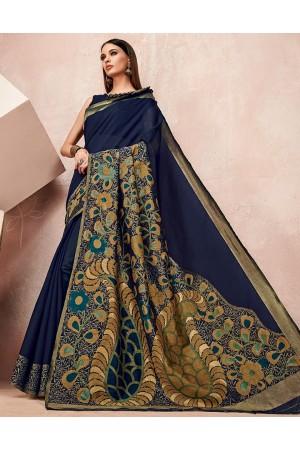 Zoya Symphony Blue Designer Wear Cotton Saree