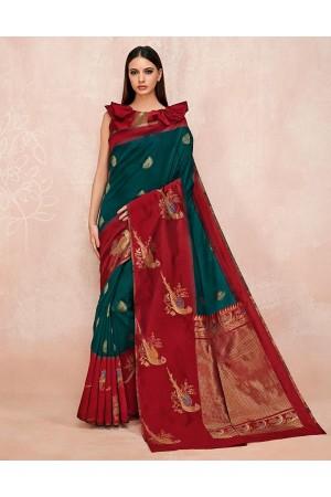 Zoya Tender Green Designer Wear Cotton Saree