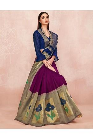 Zoya Wine Magenta Designer Wear Cotton Saree