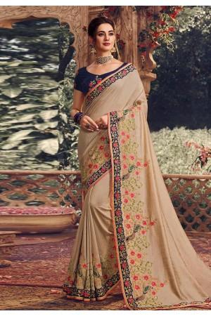 Beige silk embroidered party wear saree 1072