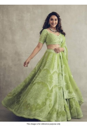 Bollywood Madhuri Dixit Inspired Green Lehenga choli