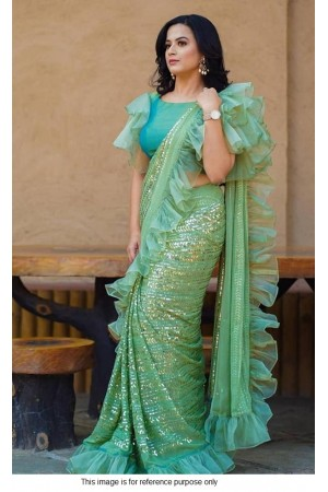 Bollywood model Green georgette sequins saree
