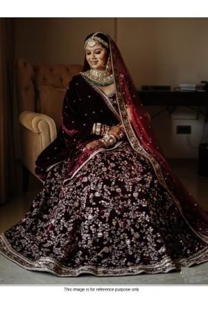 Bollywood model maroon velvet bridal lehenga