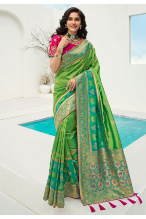 Green banarasi silk festival wear saree 10089