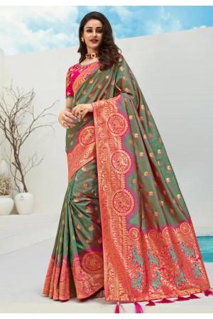 Green banarasi silk saree with blouse 10093