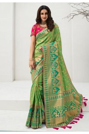 Green banarasi silk saree with blouse 10101