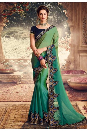 Green georgette embroidered festival wear saree 1068