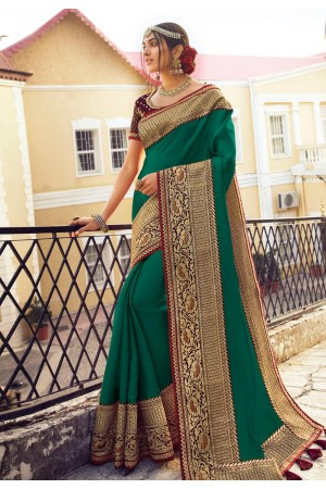 Green silk party wear saree 6407