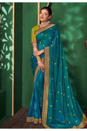 Kajal aggarwal blue art silk bollywood saree 5154