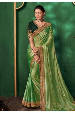 Kajal aggarwal light green art silk saree with blouse 5161