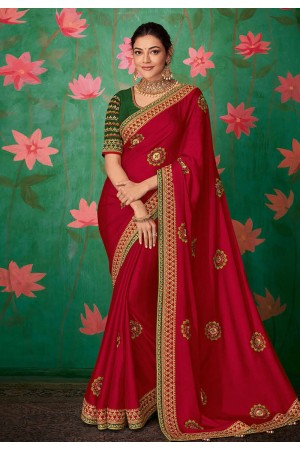 Kajal aggarwal magenta art silk bollywood saree 5151