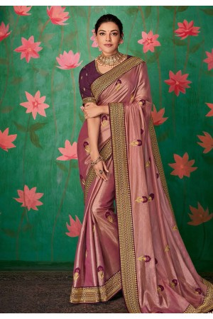 Kajal aggarwal pink art silk party wear saree 5153