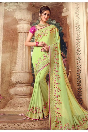 Light green silk embroidered party wear saree 1071