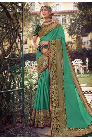 Light green silk party wear saree 6404