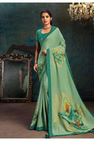 Light green silk saree with blouse 21111