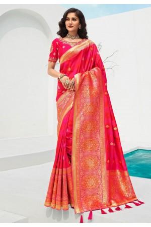 Magenta banarasi silk saree with blouse 10098