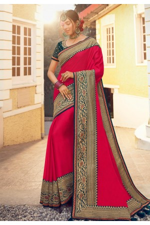 Magenta silk festival wear saree 6409
