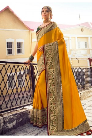 Mustard viscose festival wear saree 6405