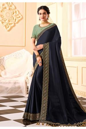 Navy blue silk party wear saree 314