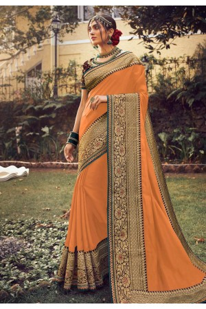 Orange viscose saree with blouse 6408