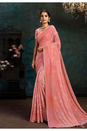 Pink chiffon saree with blouse 21109