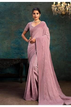 Pink chiffon saree with blouse 21116