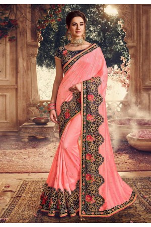 Pink silk embroidered party wear saree 1073