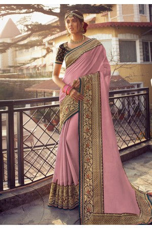 Pink silk party wear saree 6403