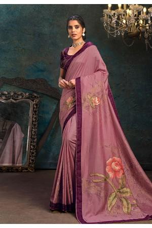 Pink silk stone work saree 21112