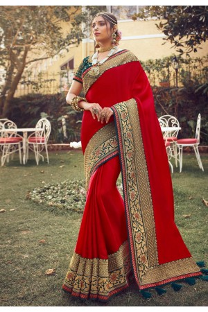 Red silk festival wear saree 6401