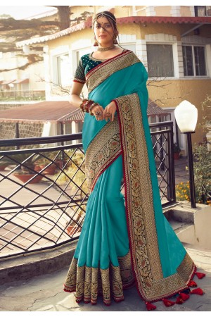 Sky blue silk party wear saree 6406