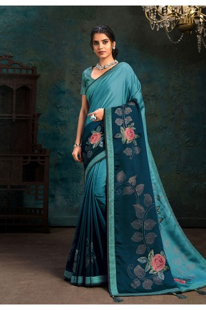 Sky blue silk stone work saree 21108