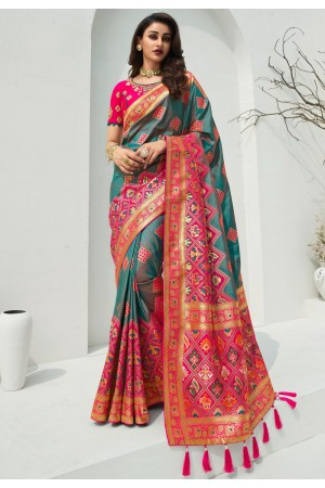 Teal banarasi silk festival wear saree 10095