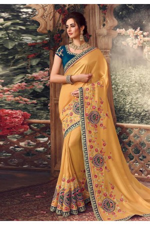 Yellow silk embroidered party wear saree 1069
