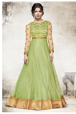 Priyanka chopra green yellow color Anarkali suit 5194