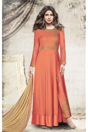 Priyanka chopra orange color slit open suit 5198