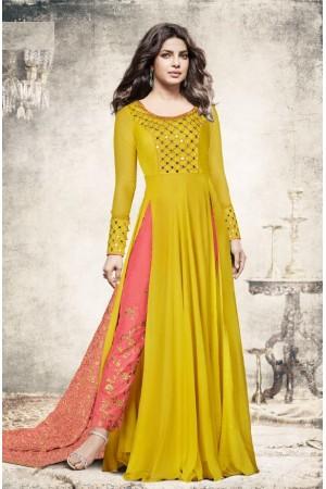 Priyanka chopra yellow color slit open suit 5196
